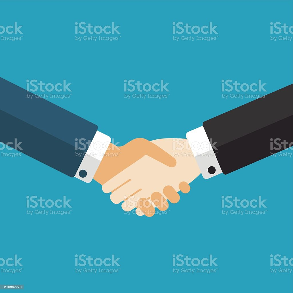Handshake, businessmen making a deal vector art illustration