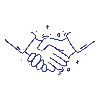 Handshake doodle vector illustration concept. Hand drawn, line icons.