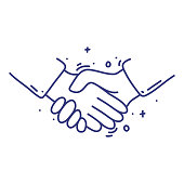istock Handshake doodle vector illustration concept. Hand drawn, line icons. 1247277475