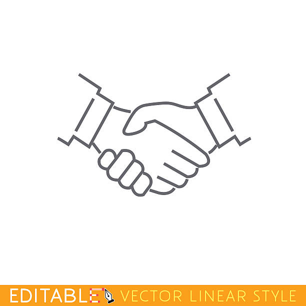handshake. editable outline sketch icon. - hand shake stock illustrations, clip art, cartoons, & icons
