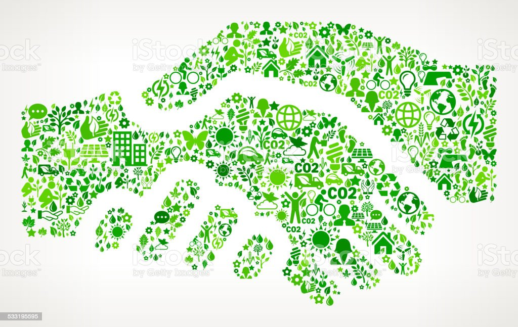 Handshake On Green Environmental Conservation and Nature Icon Pattern