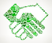 Handshake Icon . The green vector icons create a seamless pattern and include popular farming and agriculture. Farm house, farm animals, fruits and vegetables are among the icons used in this file. The icons are carefully arranged on a light background and vary in size and shades of green color.