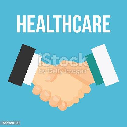 istock Handshake flat icon. Doctor and patient. 863689102