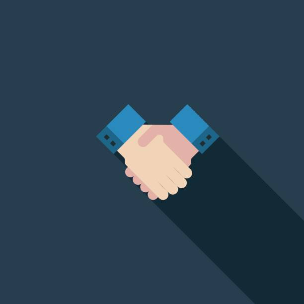 handshake flat icon - flat design icons stock illustrations, clip art, cartoons, & icons