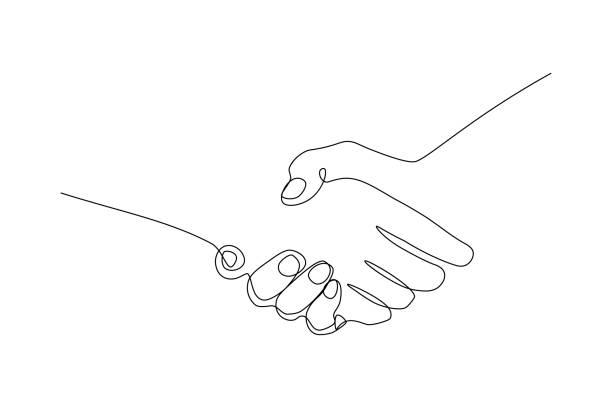 gest uścisku dłoni - linia stock illustrations