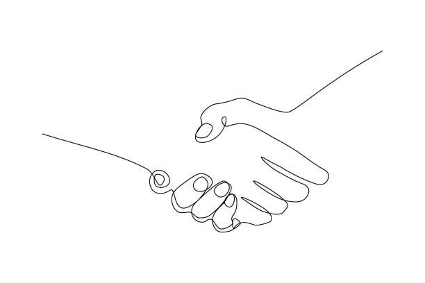 handshake gesture - lineart stock illustrations