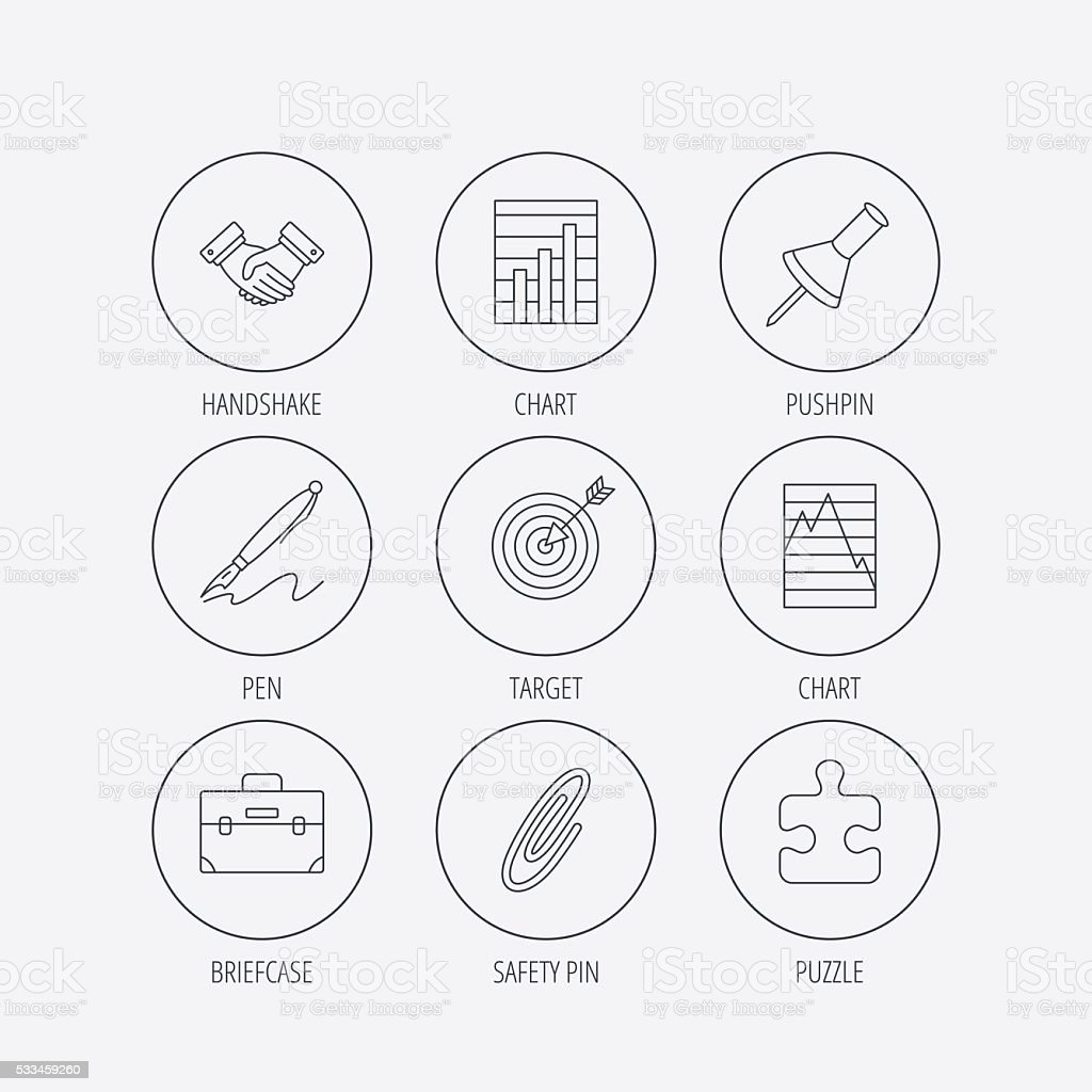 Handshake, graph charts and target icons. vector art illustration