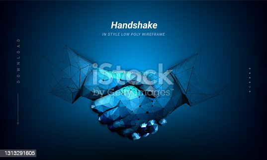 istock A handshake graphic formed by point and line connection. Concept of science and technology. Plexus lines and points in silhouette.Symbol future or innovation. Low poly wireframe. 1313291605