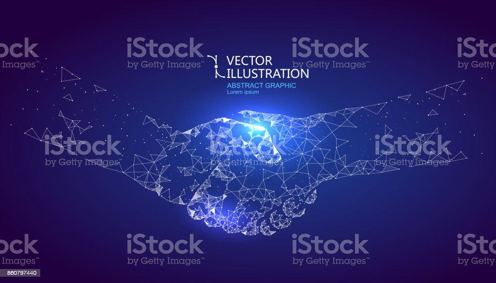 Ein Händedruck Grafik von Punkt und Linienverbindung, grafische Gestaltung von Wissenschaft und Technologie gebildet. – Vektorgrafik