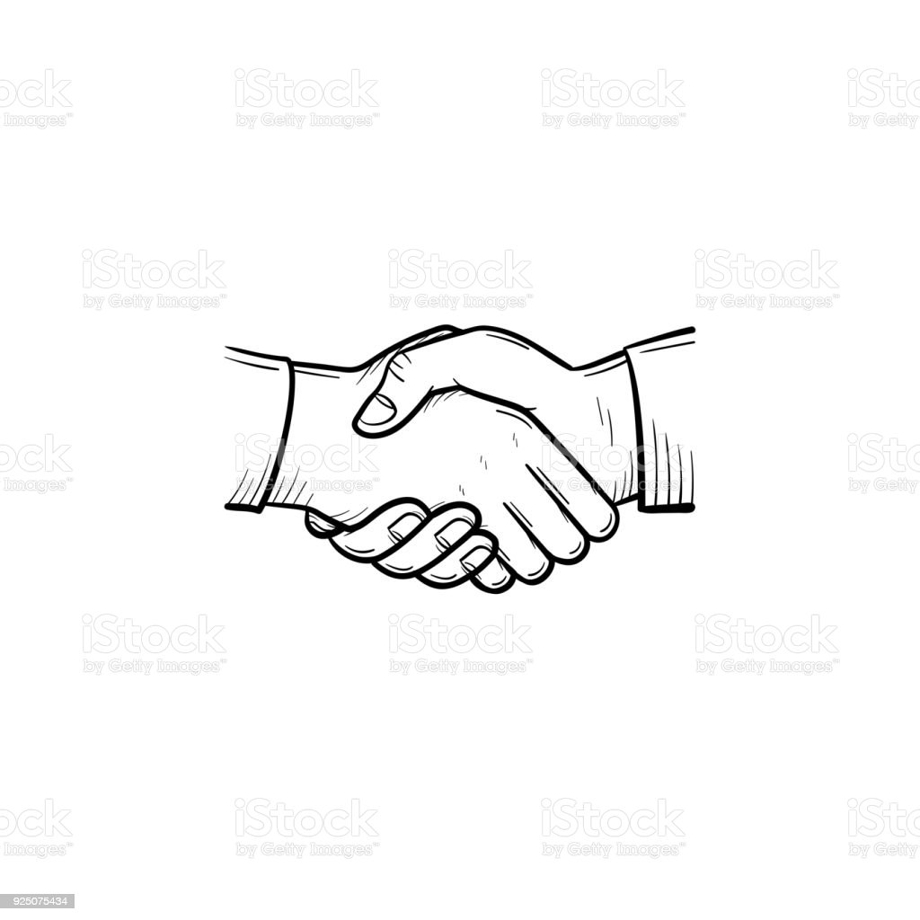 Handshake hand drawn sketch icon vector art illustration
