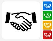 Handshake Icon Flat Graphic Design