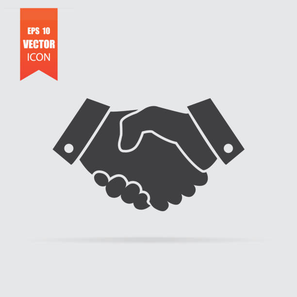 handshake icon in flat style isolated on grey background. - trust stock illustrations
