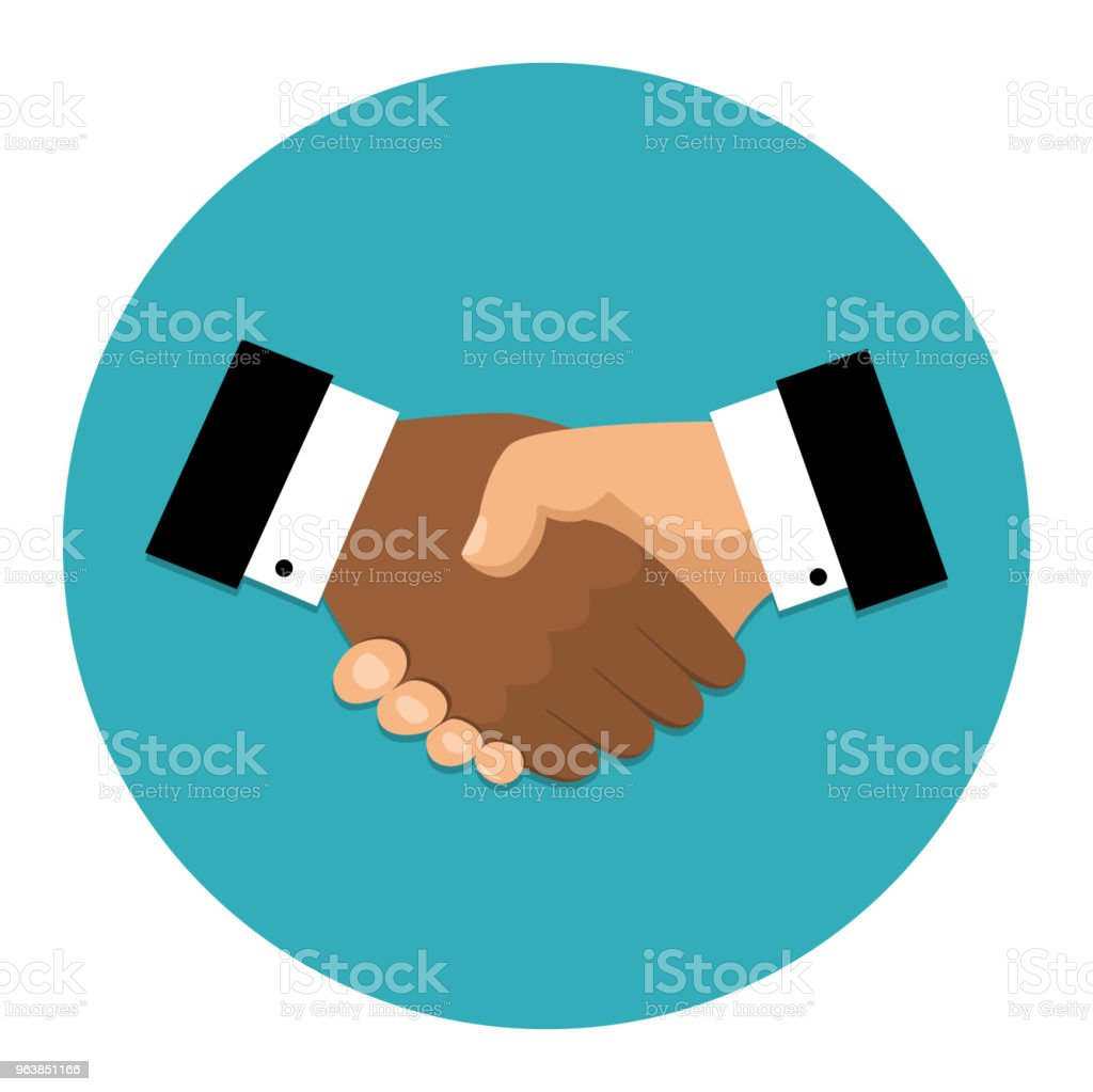 Handshake icon. Shake hands, agreement, good deal, partnership concepts. Vector image - Royalty-free Adult stock vector