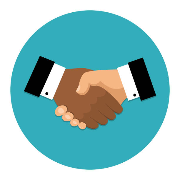 handshake icon. shake hands, agreement, good deal, partnership concepts. vector image - handshake stock illustrations