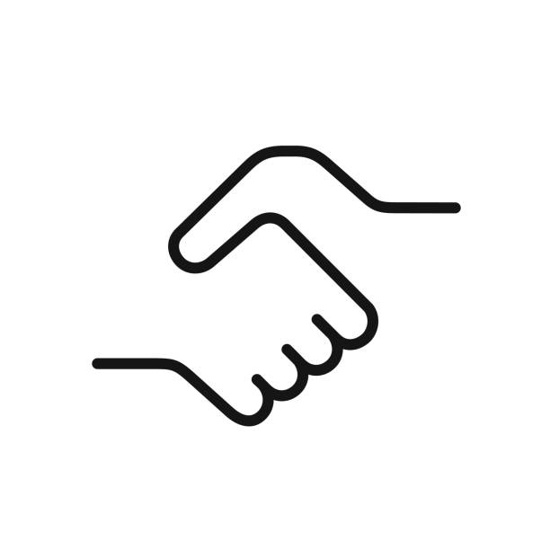 Handshake icon, simple black one line illustration Handshake icon, a symbol of a signed contract, greetings, friendship, simple black color one line vector illustration isolated on white background greeting stock illustrations