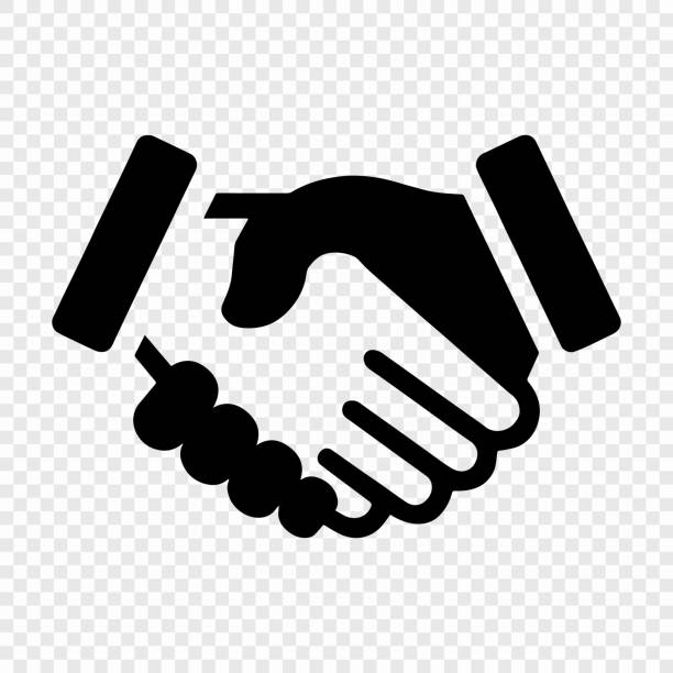 handshake icon handshake icon. background for business and finance backgrounds symbols stock illustrations
