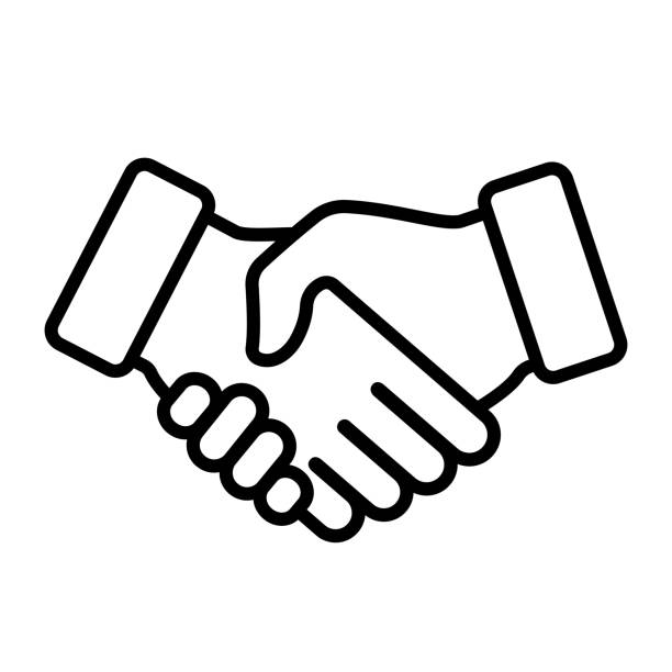 stockillustraties, clipart, cartoons en iconen met handdruk pictogram. vectorillustratie - shaking hands