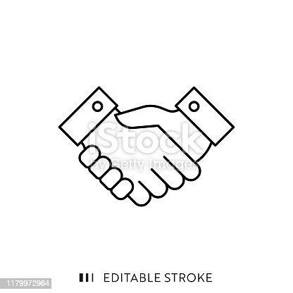 istock Handshake Icon with Editable Stroke and Pixel Perfect. 1179972964