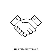 istock Handshake Icon with Editable Stroke and Pixel Perfect. 1179972964