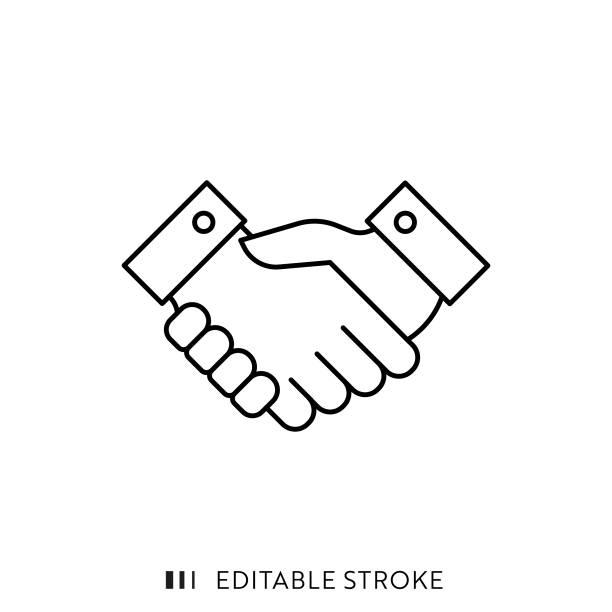 illustrations, cliparts, dessins animés et icônes de icône de poignée de main avec course modifiable et pixel perfect. - se saluer