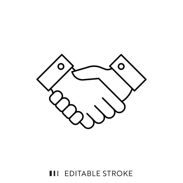 stockillustraties, clipart, cartoons en iconen met handshake-pictogram met bewerkbare lijn en pixel perfect. - shaking hands