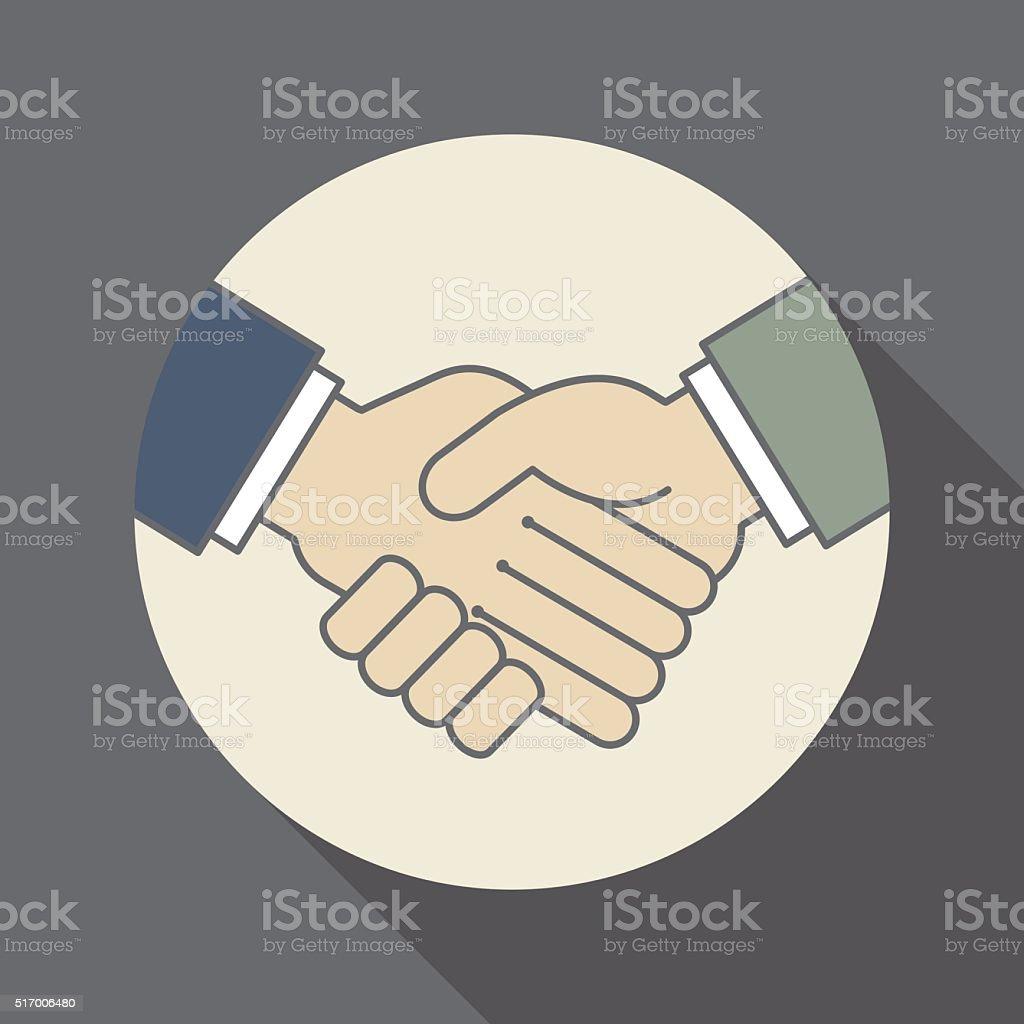 handshake icon-business concept vector art illustration