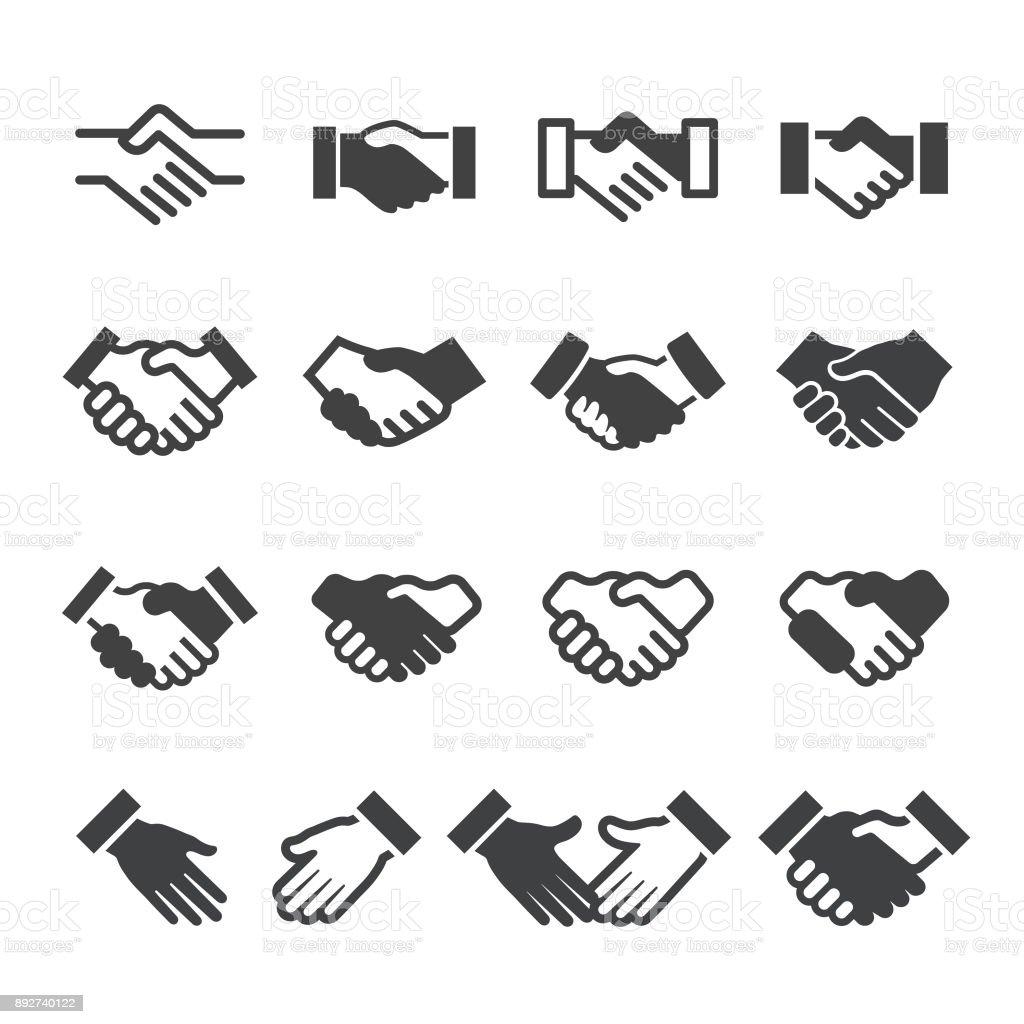 Iconos de apretón de manos - serie Acme - ilustración de arte vectorial