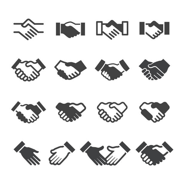Handshake Icons - Acme Series Handshake, Business, Agreement, Friendship, Teamwork, Partnership dealing cards stock illustrations