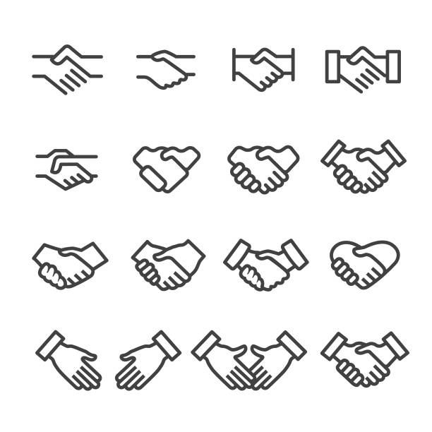 Handshake Icons - Line Series Handshake, Agreement, shaking stock illustrations