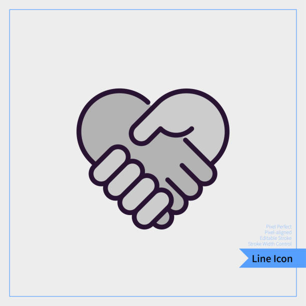 Handshake in form of heart icon. A professional, pixel-aligned, Pixel Perfect, Editable Stroke, Easy Scalablility. Handshake in form of heart icon. A professional, pixel-aligned, Pixel Perfect, Editable Stroke, Easy Scalablility. holding hands stock illustrations