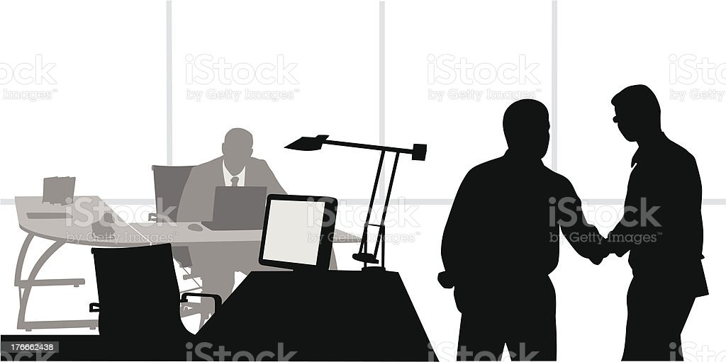 Handshake In Office royalty-free handshake in office stock vector art & more images of black color