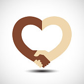 Handshake in the form of heart. Handshake sympathy, love and friendship concept, vector illustration
