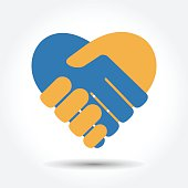 Handshake in the form of heart