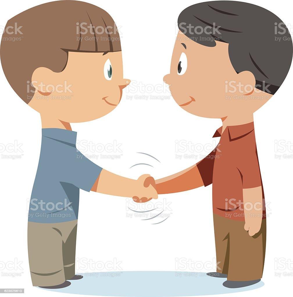 Handshake kids vector art illustration