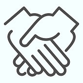 Handshake line icon. One hand supported other vector illustration isolated on white. Simple handshake outline style design, designed for web and app. Eps 10