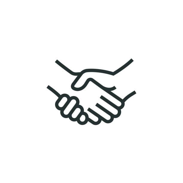 illustrations, cliparts, dessins animés et icônes de icône de ligne de poignée de main - se saluer
