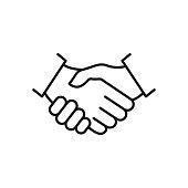 istock Handshake line icon. 1239766678