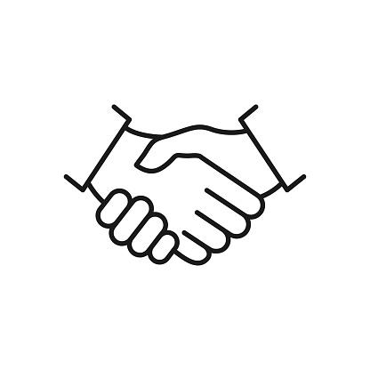 Handshake line icon.