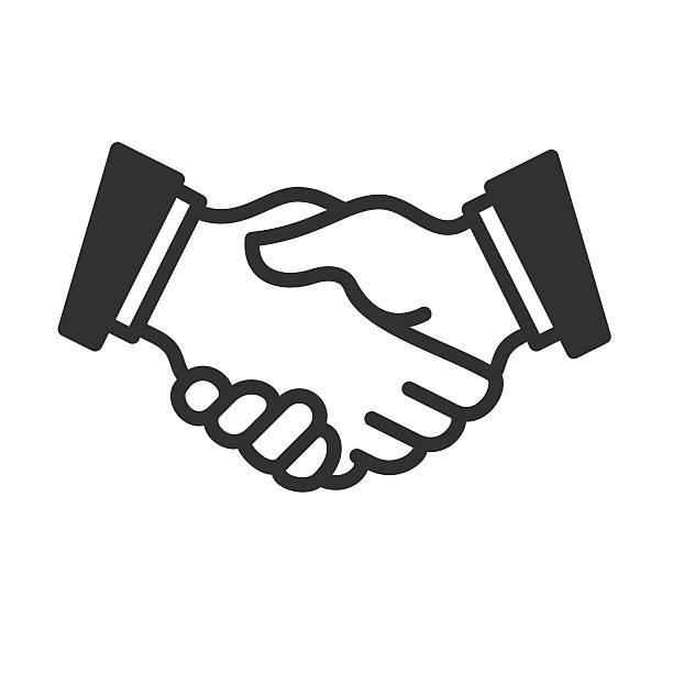 handshake linear-symbol. vektor - schütteln stock-grafiken, -clipart, -cartoons und -symbole