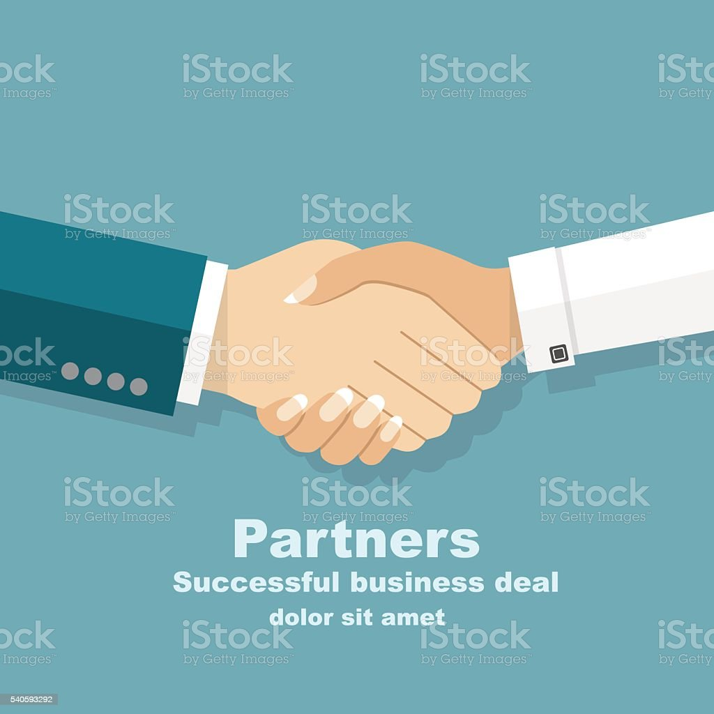 Handshake men and women. Handshake of business people partners b vector art illustration