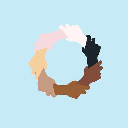 Handshake. Multi ethnic world. Skin colors