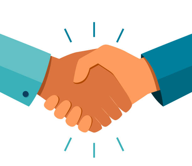 ilustrações de stock, clip art, desenhos animados e ícones de handshake of business partners. business handshake. successful deal. vector flat style illustration - hand shake