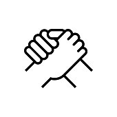 Handshake of business partners. Human greeting. Arm wrestling symbol. Vector illustration.