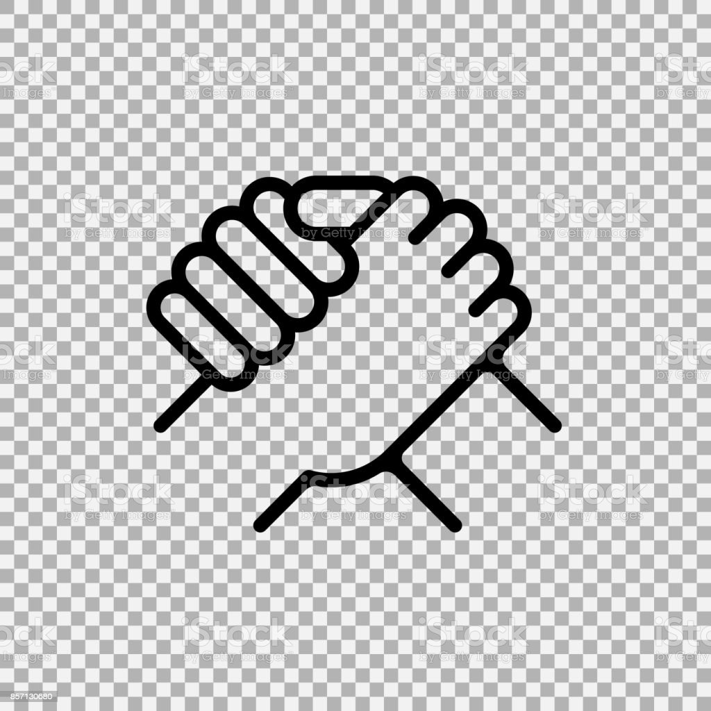 Handshake of business partners. Human greeting. Arm wrestling symbol. Vector illustration. vector art illustration