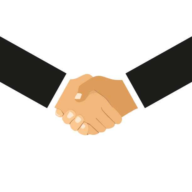 ilustrações de stock, clip art, desenhos animados e ícones de handshake of business partners in flat design on a white background - hand shake