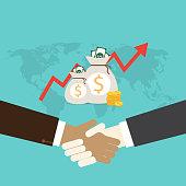 Handshake of business people. Flat design modern vector illustration concept. on money bag background and world map