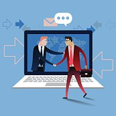 Handshake of business people with laptop. Business concept illustration vector