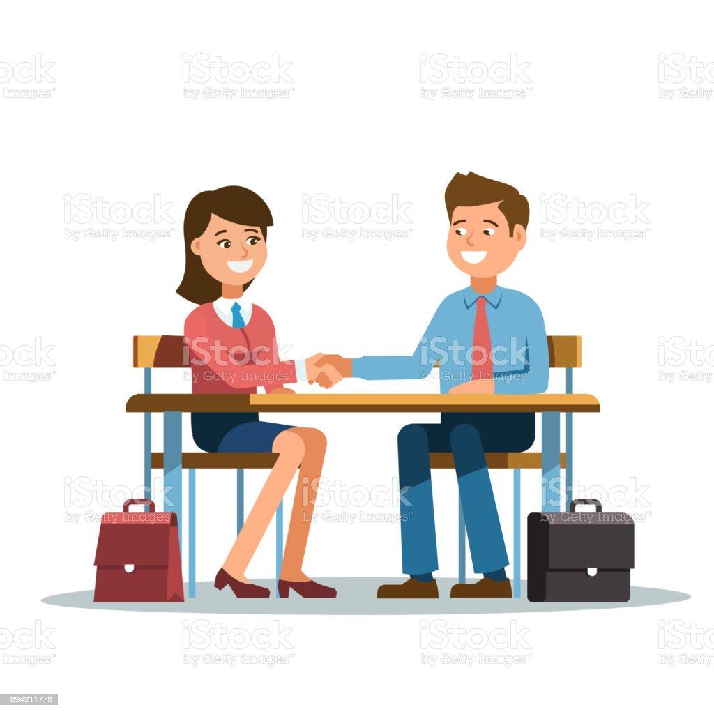 Handschlag von zwei Geschäftsleuten und Frau – Vektorgrafik