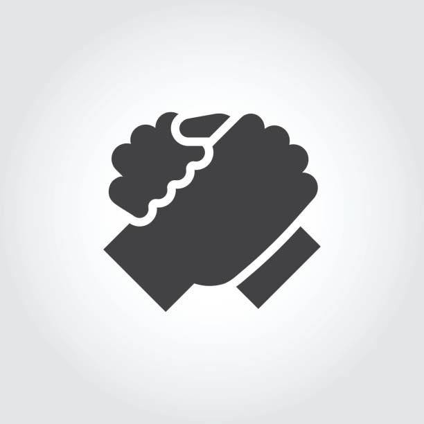 handshake of two people icon in flat style. simple icon for brotherly support, meeting, armwrestling, teamwork concept - brother stock illustrations, clip art, cartoons, & icons