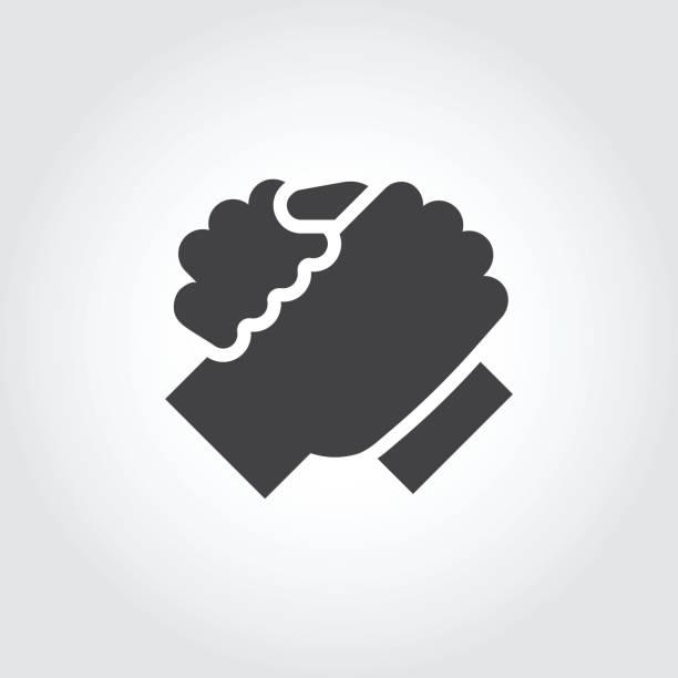 ilustraciones, imágenes clip art, dibujos animados e iconos de stock de apretón de manos de icono de dos personas de estilo plano. icono de simple apoyo fraterno, encuentro, para el armrestling, concepto de trabajo en equipo - hermano
